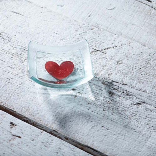 small square dish with red heart jail dornoch