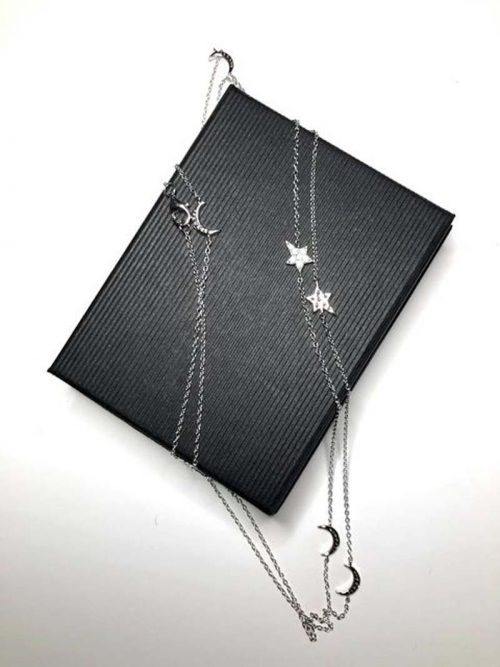 moon and stars long length silver necklace jail dornoch