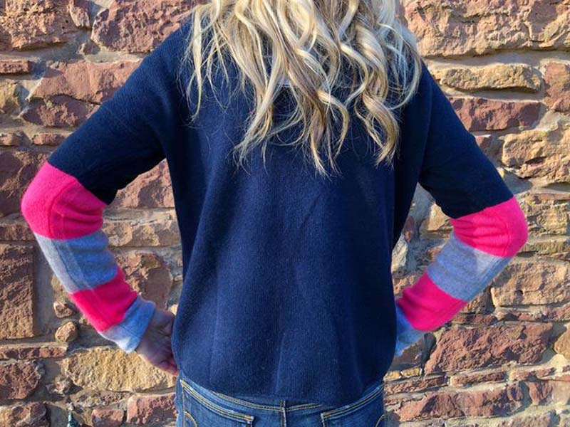 brodie cashmere navy with grey and pink sleeve jail dornoch