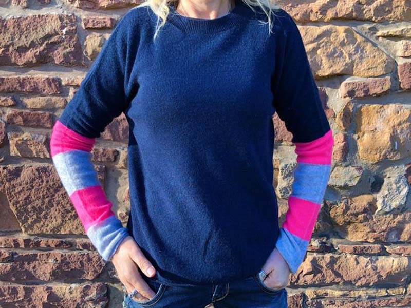 brodie cashmere navy with grey and pink stripe jail dornoch