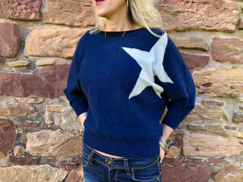 brodie cashmere navy with large star jail dornoch