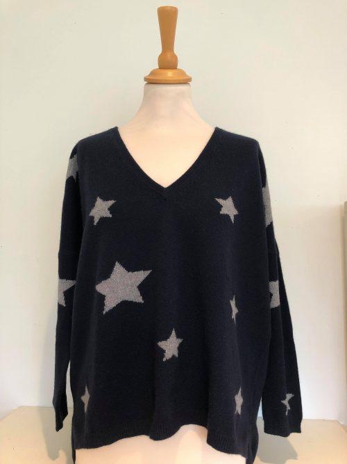 navy grey star sweater jumper brodie cashmere jail dornoch