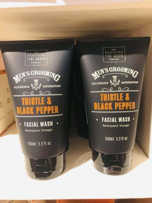 mens thistle and black pepper face wash jail dornoch