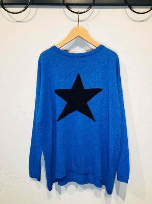 ladies blue cashmere blend sweater jail dornoch