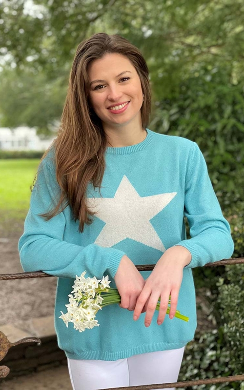 aqua grey star luella cashmere jumper jail dornoch