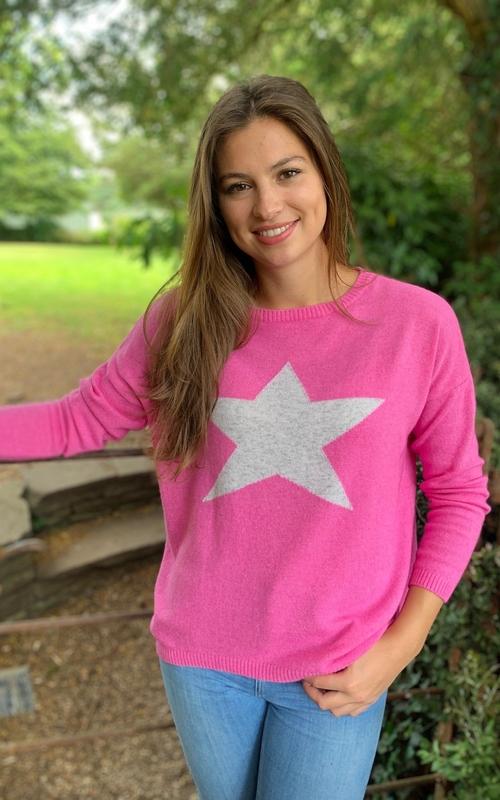 hot pink grey star cashmere jumper jail dornoch
