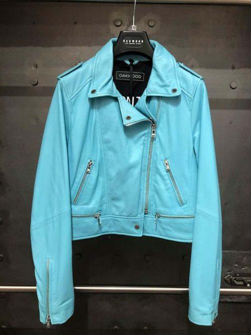 ladies turq leather jacket oakwood jail dornoch