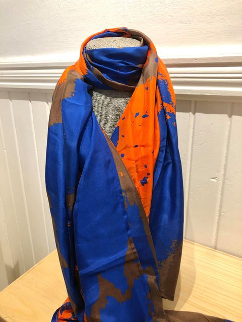 SILK SCARF WITH ORANGE AND BLU JAIL DORNOCH