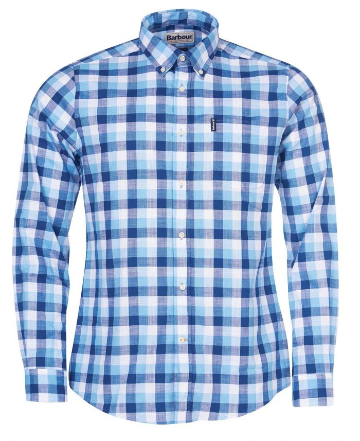 MENS GINGHAM BLU SHIRT JAIL DORNOCH