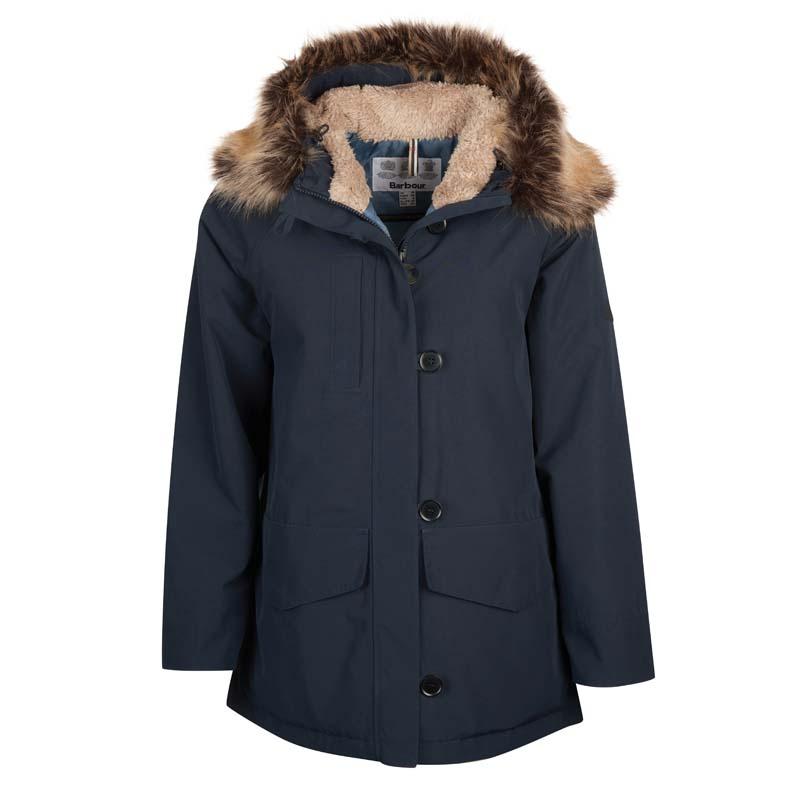 ladies hooded navy barbour jacket jail dornoch