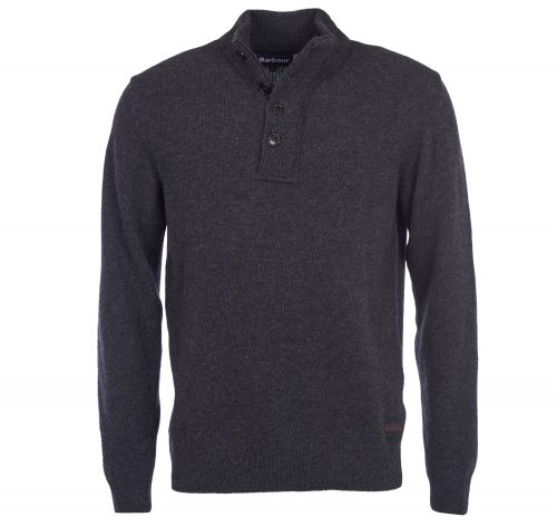 barbour mens patch half zip charcoal sweater