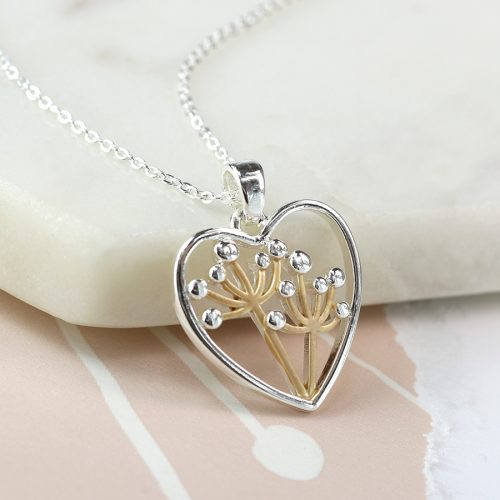 dandelion in heart necklace jail dornoch