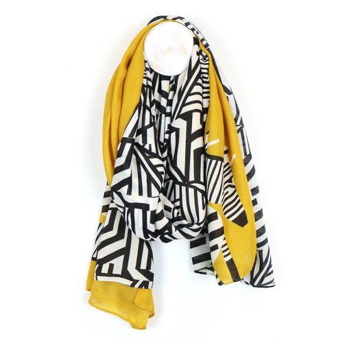 518 zebta print mustard scarf jail dornoch