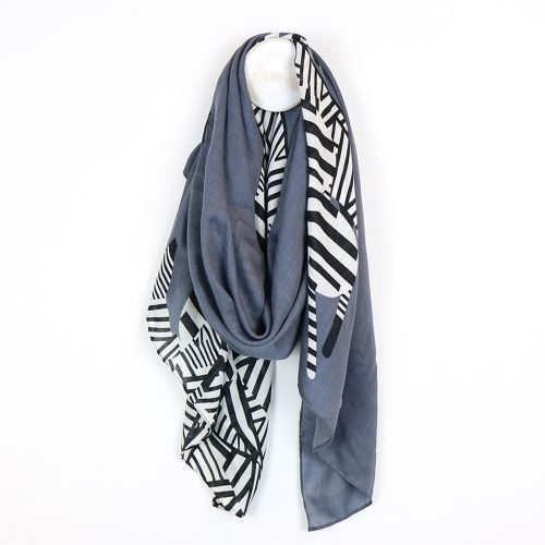 lightweight grey zebra scarf jail dornoch