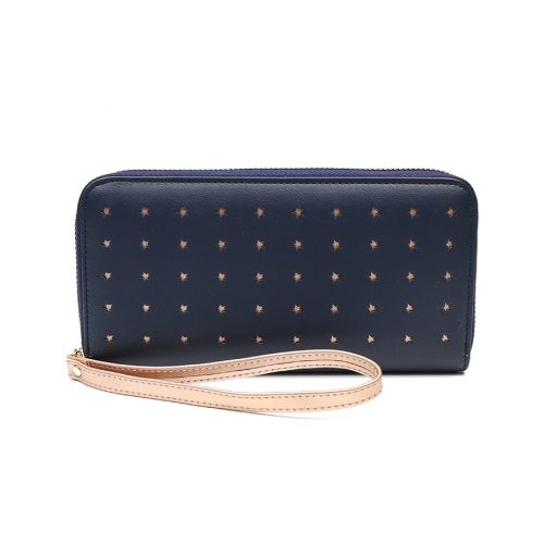 long zip purse navy rose gold stars jail dornoch
