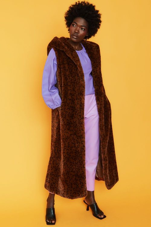 jayley collection long faux fur gilet chocolate jail dornoch