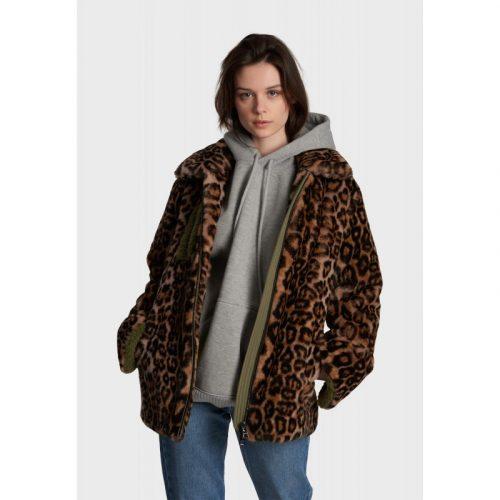 step 1 oakwood faux fur leopard zip jacket jail dornoch